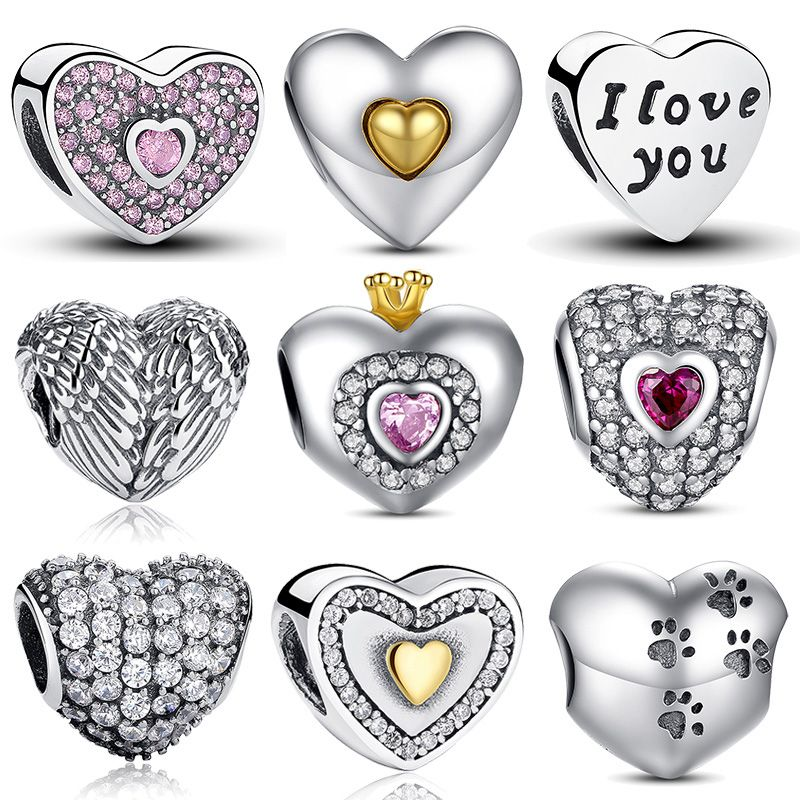 Pandora Style Heart Shape Charm Beads Jewelry Making