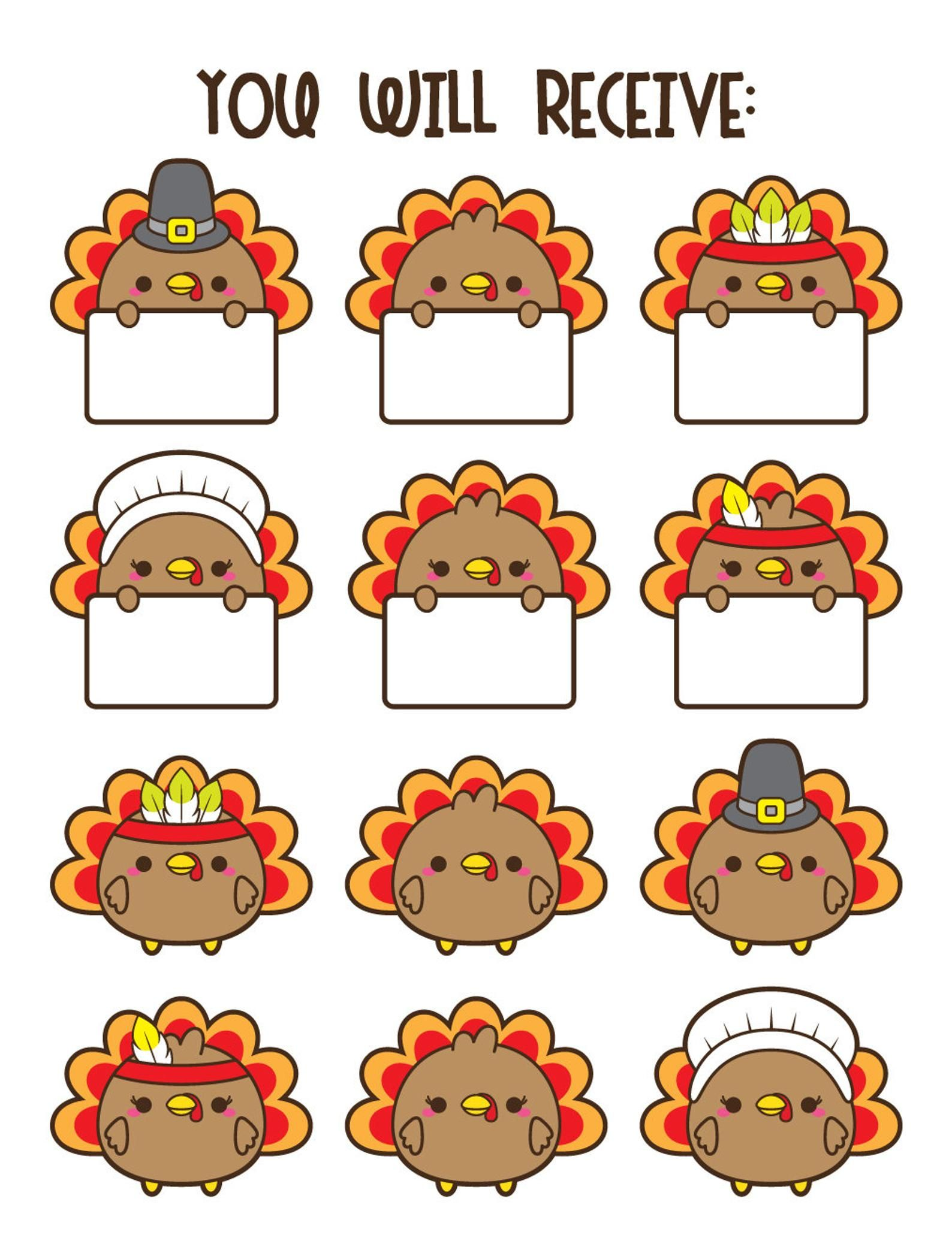 small resolution of turkey clipart kawaii turkey clipart thanksgiving clipart etsy