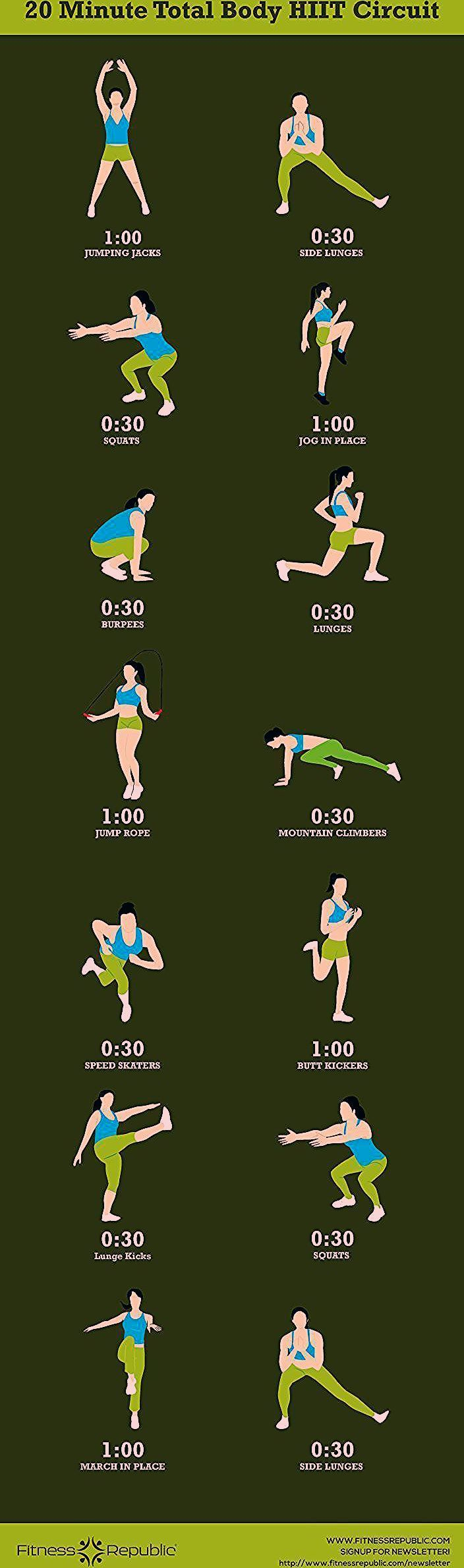 Fitness Motivation : 20-Minute Total Body HIIT Circuit - #20Minute #Body #circuit #Fitness #HIIT #Mo...