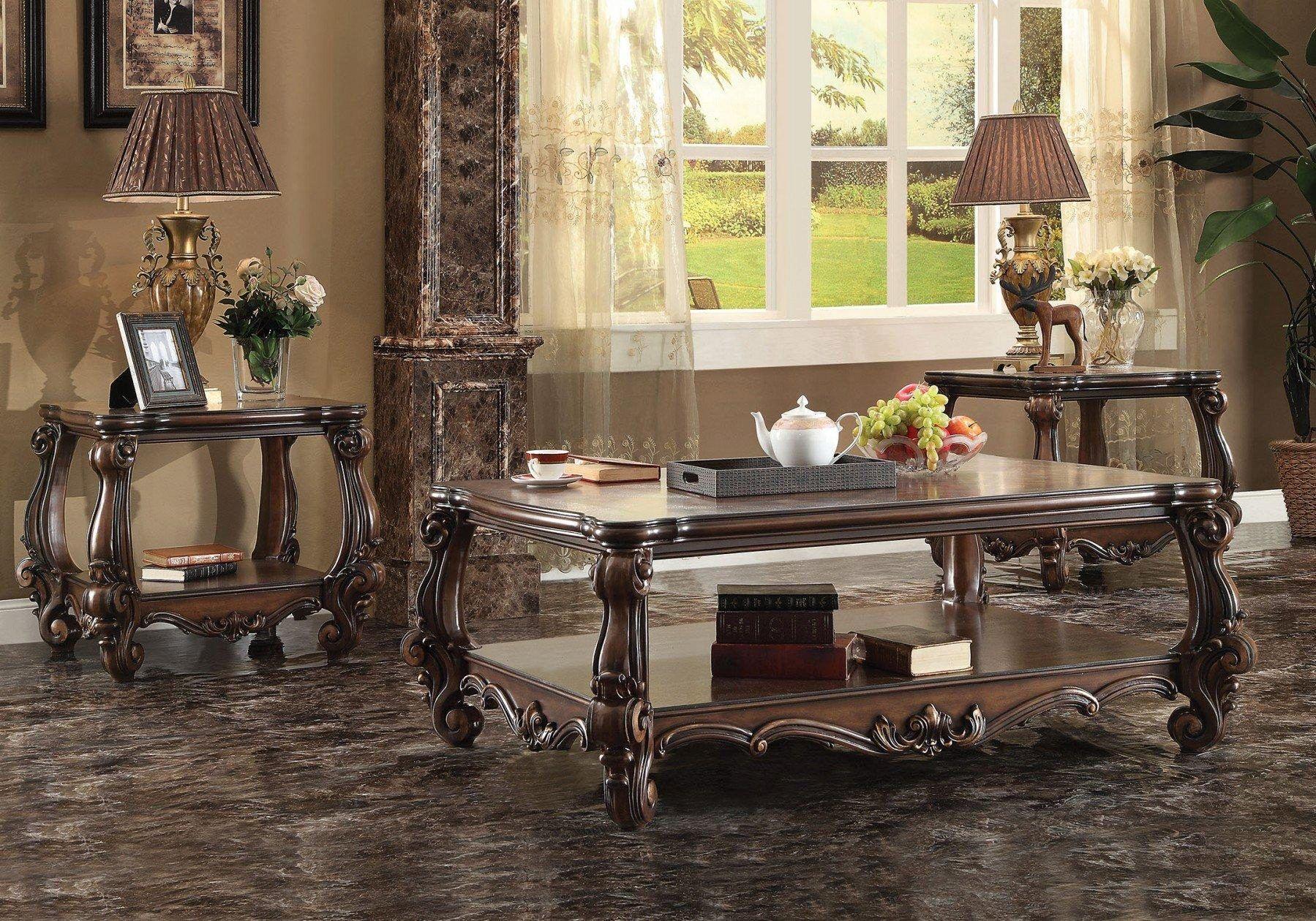 Cherry Oak Coffee Table Set 3pcs 82120 Versailles Acme Carved Wood Classic Versailles 82120 Set 3 Living Room Table Sets Oak Coffee Table Coffee Table With Storage [ 1260 x 1799 Pixel ]