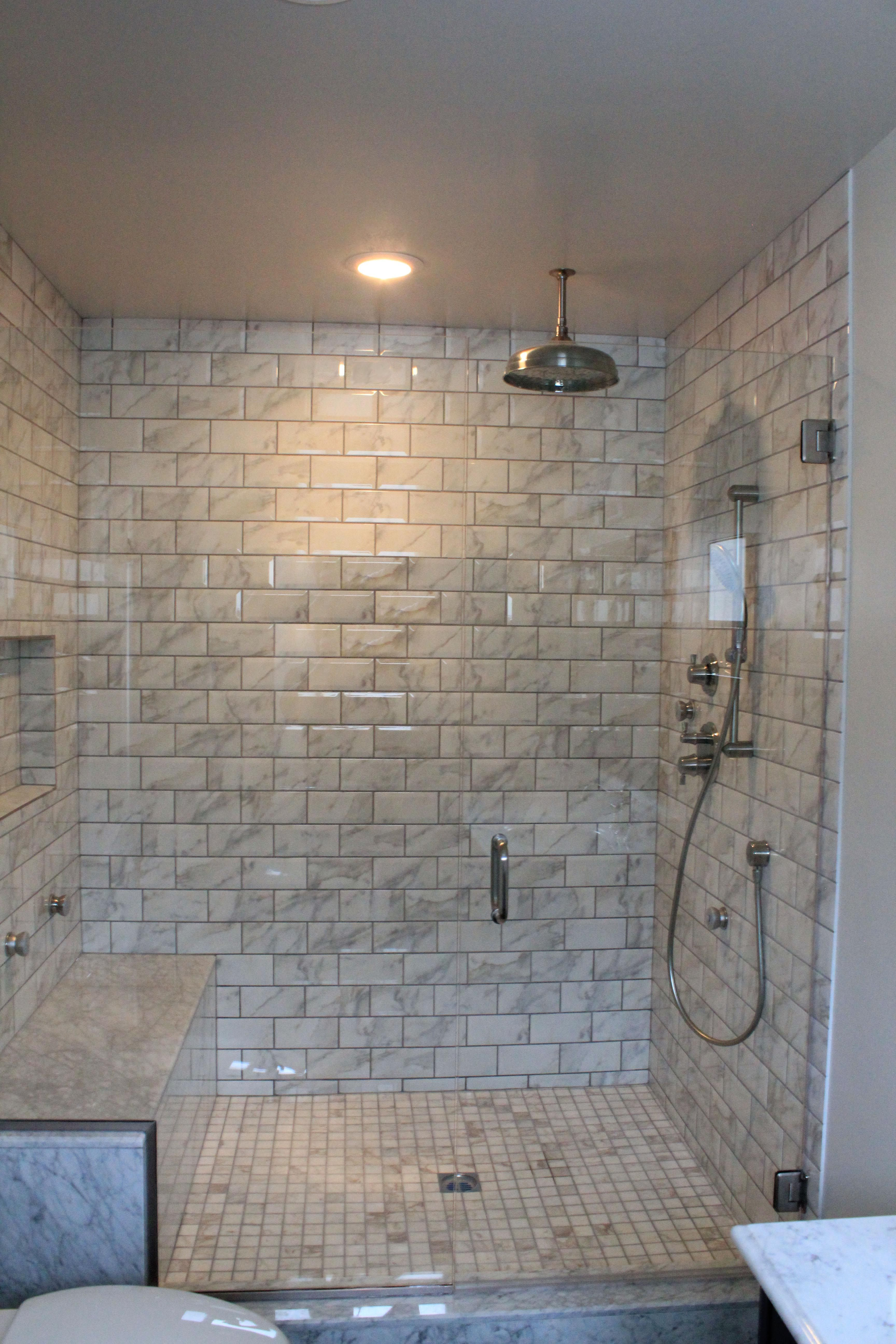 Marble subway tile shower but do a herringbone pattern - Is marble tile good for bathroom ...