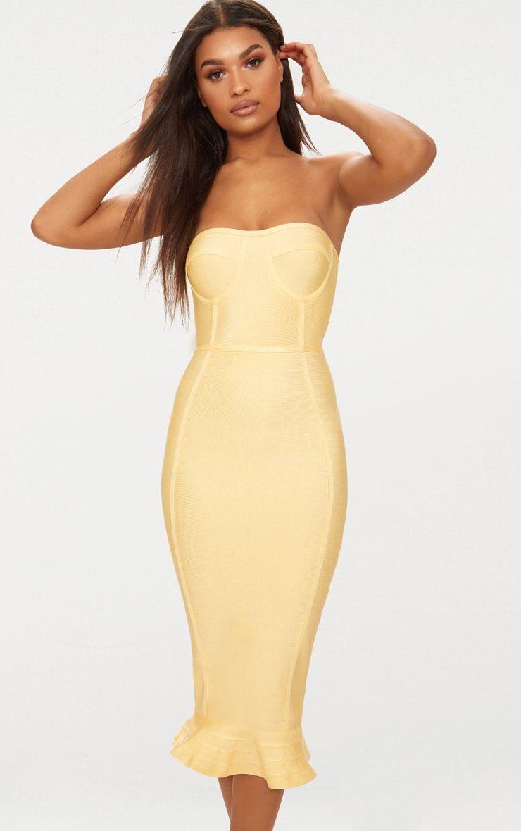 ba0d0077c Lemon Bandage Frill Hem Midi Dress | Dresses | PrettyLittleThing ...