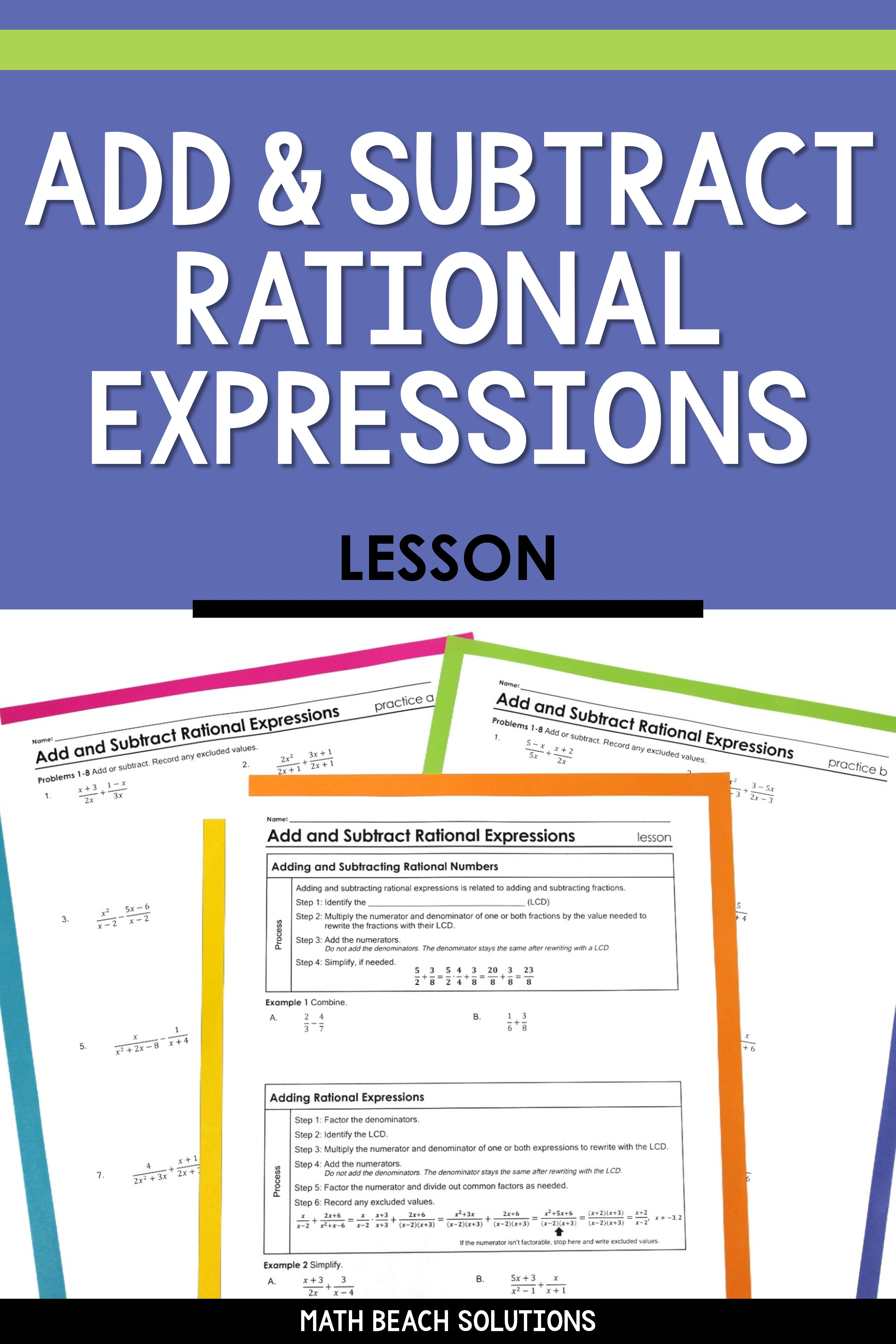 Add And Subtract Rational Expressions Lesson Rational Expressions Algebra Lesson Plans Adding And Subtracting