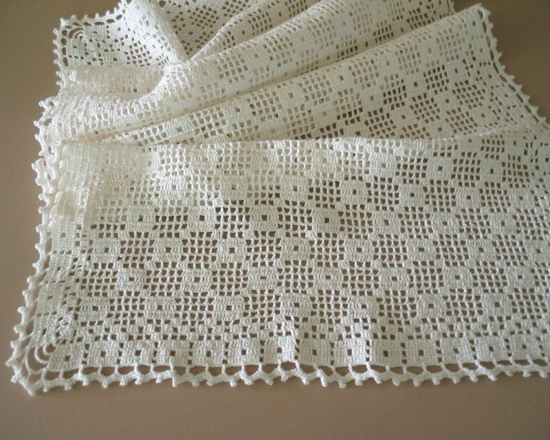 Circa White Cotton Filet Crochet Table Runner Dresser Scarf With An Interesting Overall Geometric Pattern It Is Edged A Nice Lacey