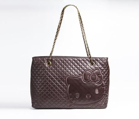 9c7d808e37 I really wanted this tote!! ...Hello Kitty Real Leather Shoulder Tote Brown  Quilt  300