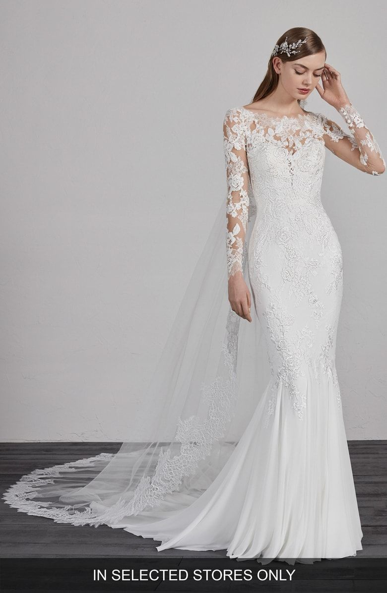 1a7dd464 Free shipping and returns on Pronovias Esperanza Illusion Lace Mermaid Gown  at Nordstrom.com. This wedding gown can't be purchased online but is  available ...
