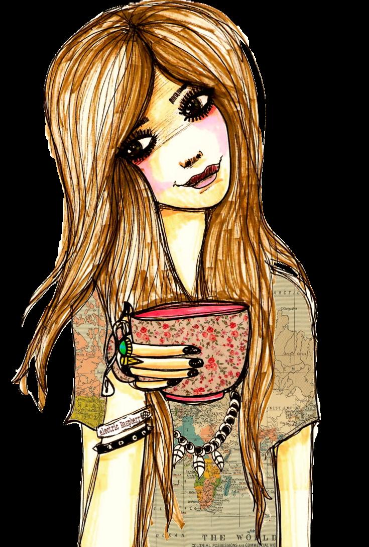 Resultado de imagen para cartoon chicas tomando cafe