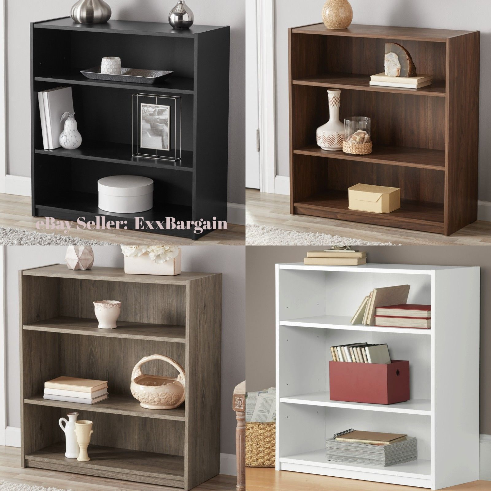 Details About Adjustable 3 Shelf Wood Bookcase Storage Book Display Wide Bookshelf Shelving In 2020 Bookcase