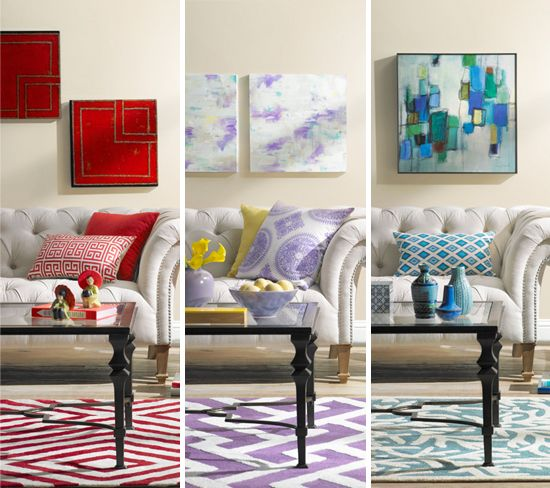 Delightful A Colorful Living Room Decorating Idea: One Room, Three Ways