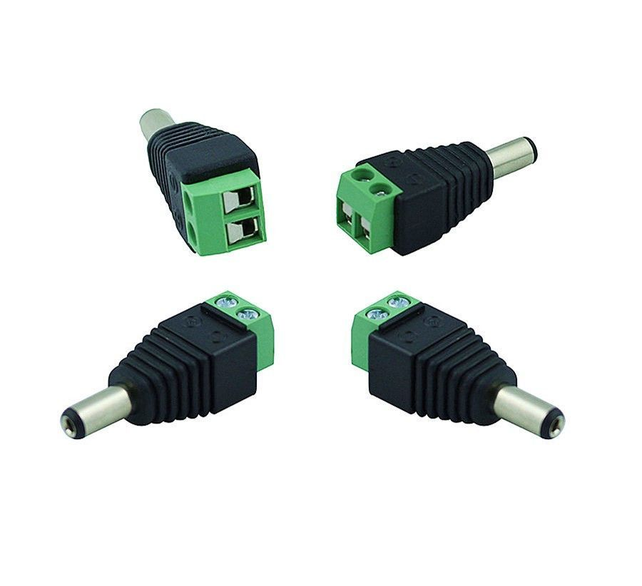 10Pcs/lot 5.5/2.1mm DC Connector CCTV UTP Cable Power Plug Adapter ...