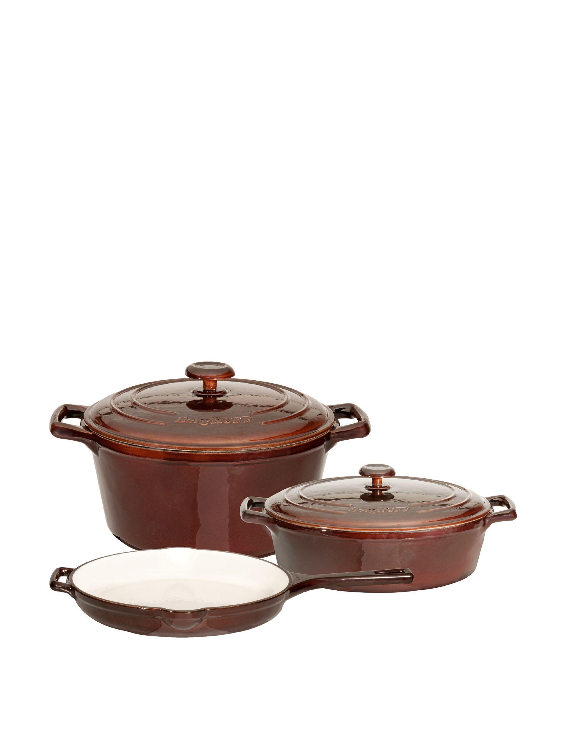Berghoff neo cast iron 5piece cookware set brown high
