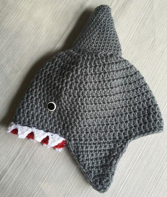 Crochet Shark Hat, Shark Week, Shark Crochet Beanie, Character Hat ...