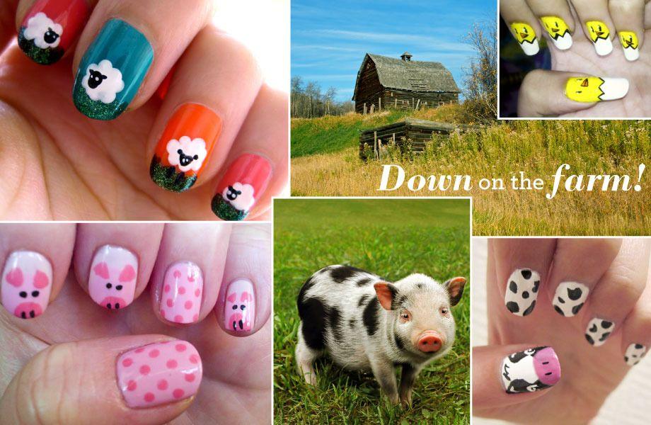 Farm theme nail  art, gotta do this for the fair! Down on the Farm! | Beautylish