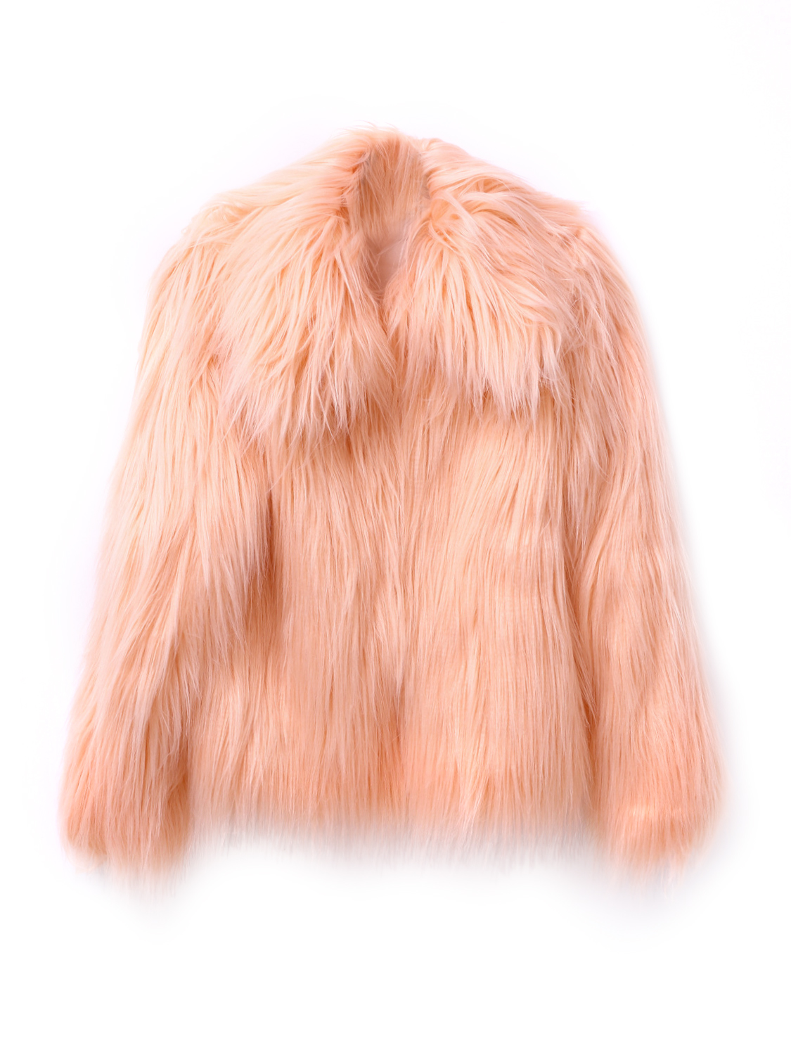 Buy Peach Pink Vintage Style Faux Fur Coat from abaday.com, FREE shipping Worldwide - Fashion Clothing, Latest Street Fashion At Abaday.com