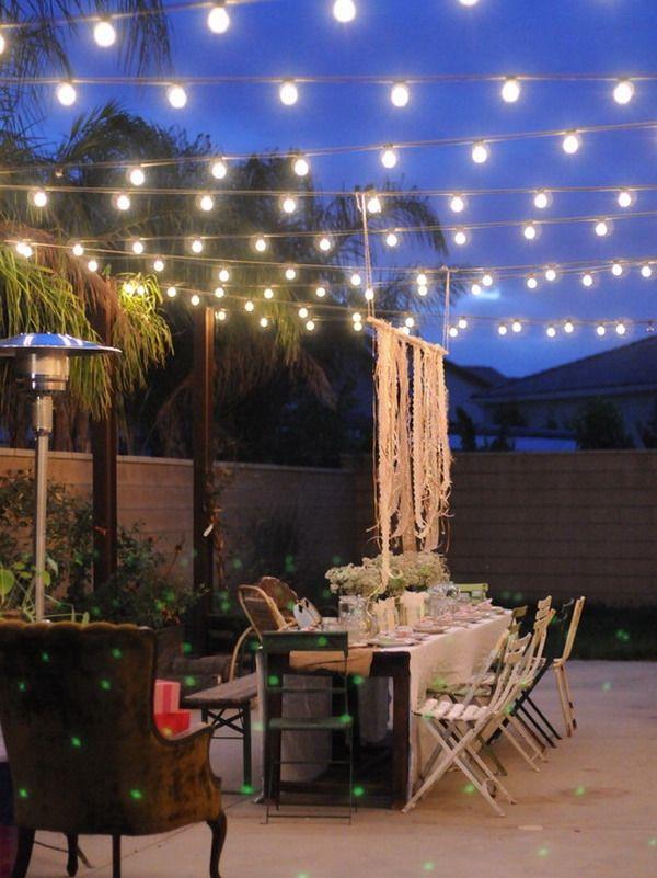 outdoor patio string lights festive decoration ideas summer garden party Lighting Pinterest