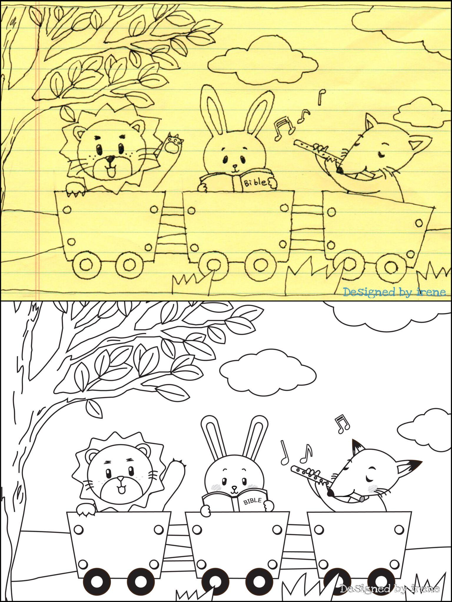 Coloring❤️ 어린이 색칠공부 일러스트 그리기~~ 원본 스케치와, 일러스트레이터 작업 완성 이미지.