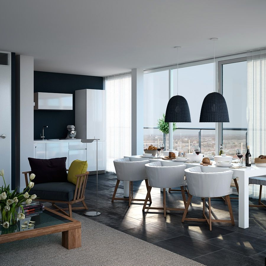 triple d- dark navy and white apartment kitchen dining with views