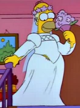 Gif homer simpson vestido de novia