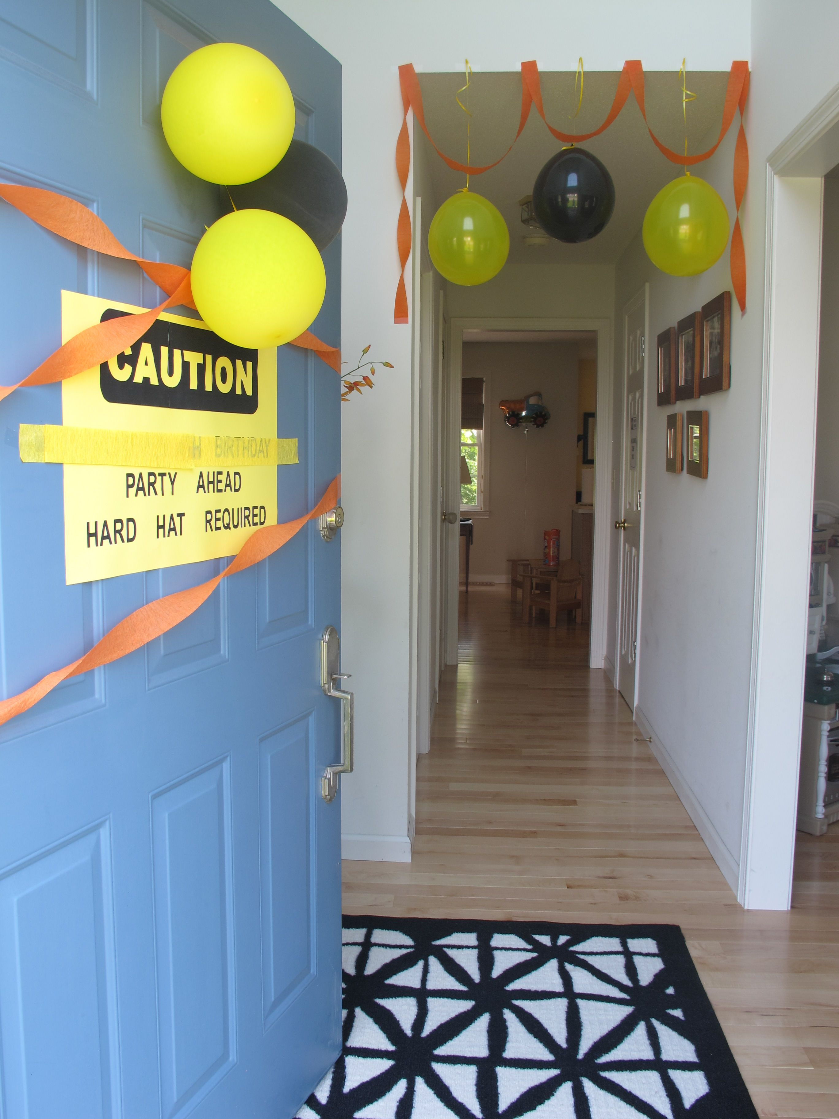 Construction truck party decorations; The entrance to our party. The blocked sign text says & Construction truck party decorations; The entrance to our party. The ...