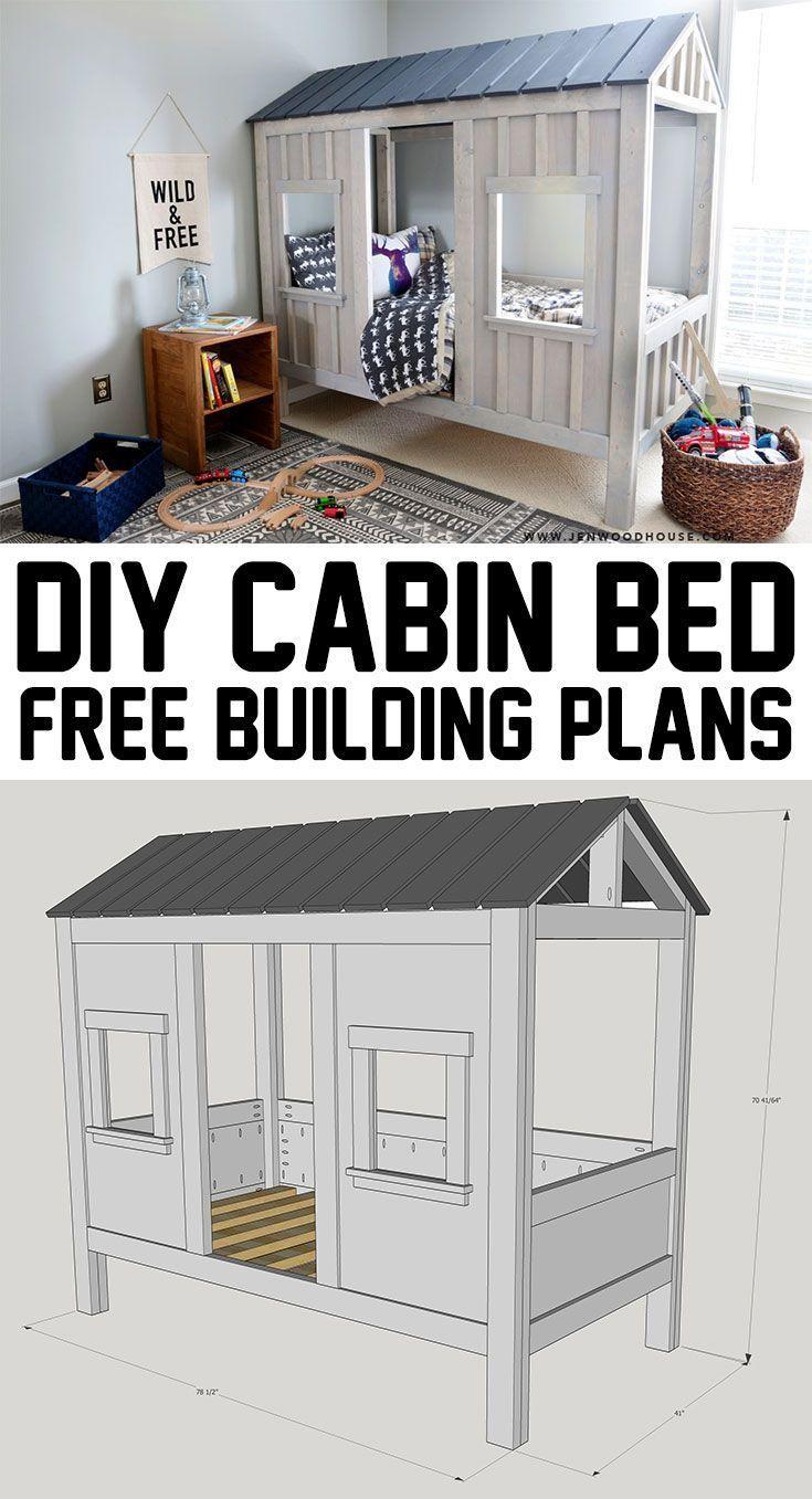 Diy kids loft bed plans  DIY Cabin Bed  Diy cabin Cabin and Free