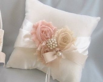 Wedding Ring Pillow Bearer Shabby Chic Vintage Ivory And Cream Custom Colors Too
