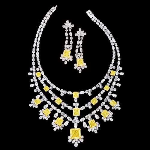Chatila yellow & white diamond necklace