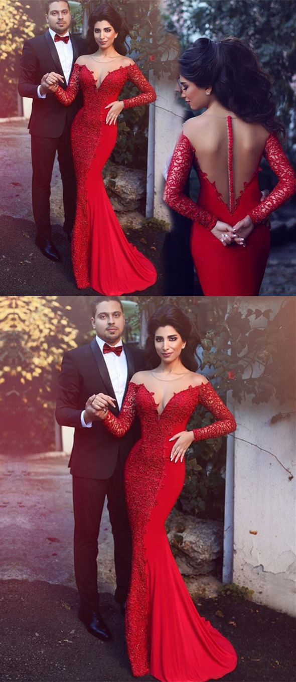 Mermaid crew long sleeves sweep train red prom dress with lace