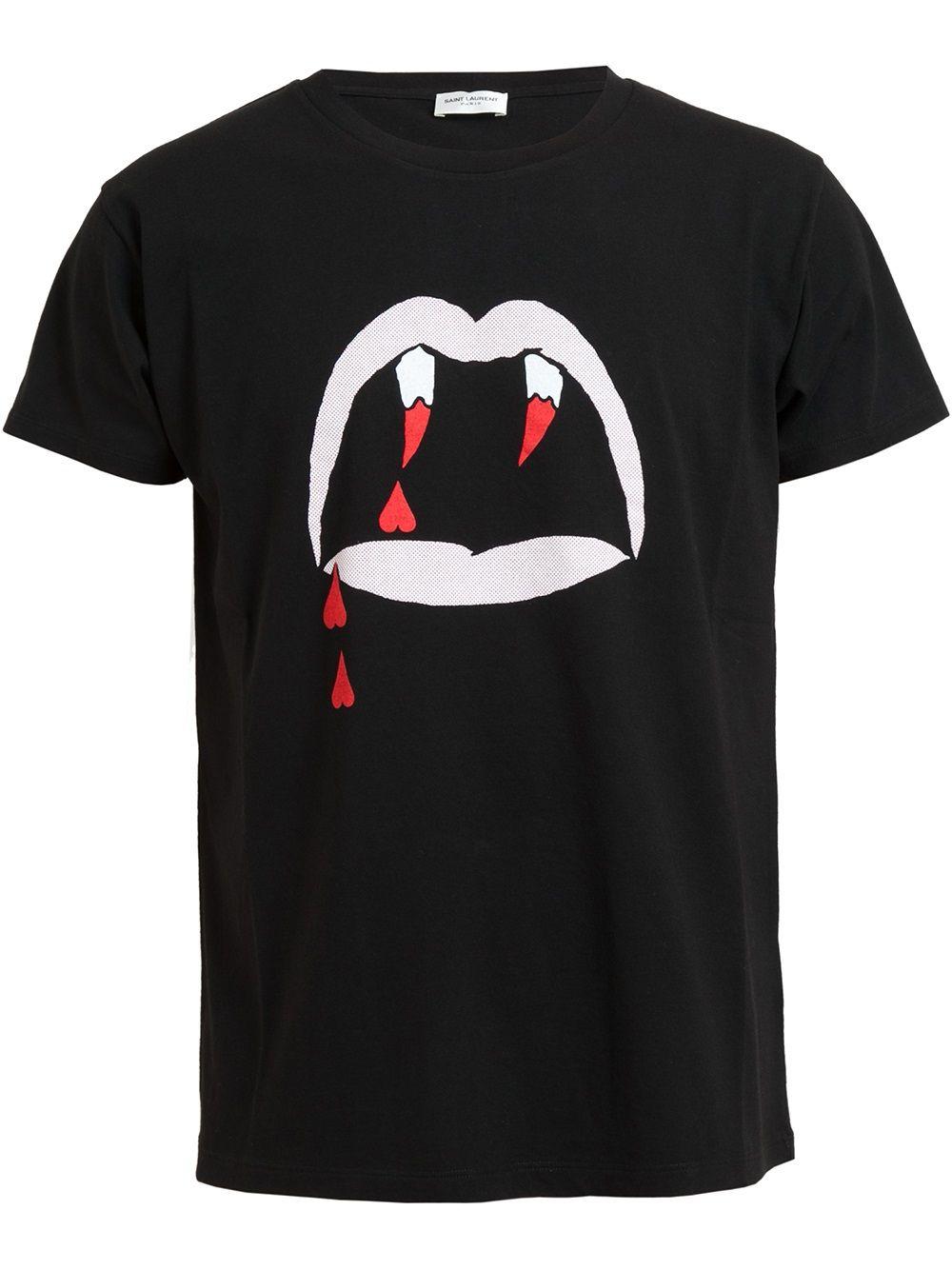 6fa2665013 Saint laurent Vampire Lips Printed Cotton Tshirt in Red for Men ...