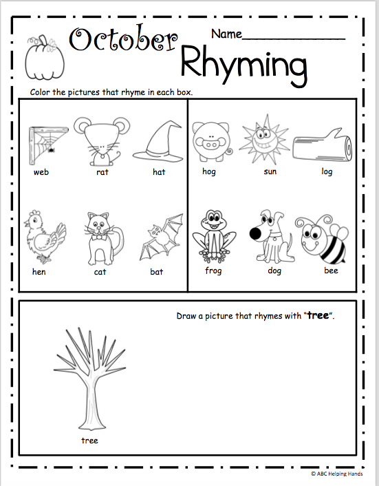 October Rhyming Worksheet for Kindergarten | Math | Pinterest
