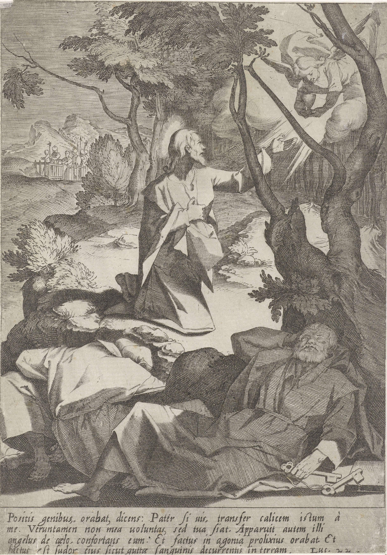 Pieter de Jode (I) | Christus in hof van Getsemane, Pieter de Jode (I), Andrea Boscoli, Matteo Florimi, 1590 - 1632 | Christus biddend in de hof van Getsemane. Uit de hemel verschijnt een engel met een kelk. Op de voorgrond slapen Petrus, Johannes en Jakobus. Op de achtergrond nadert samen met Judas een groep soldaten. In de marge een vierregelig onderschrift in het Latijn. Prent uit een serie van vijftien met de passie van Christus.