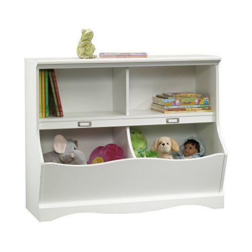 Soft White Kids Toy Chest Wood Box Bin Storage Organizer: Sauder Pogo Bookcase/Footboard, Soft White Finish Sauder