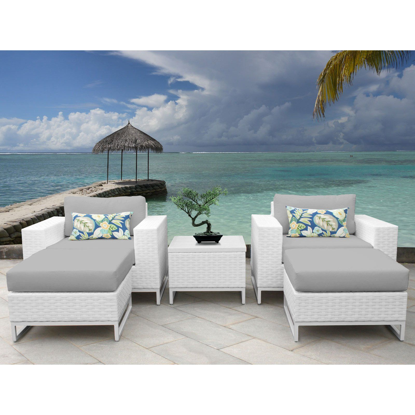Outdoor Tk Classics Miami Wicker 5 Piece Patio Conversation Set