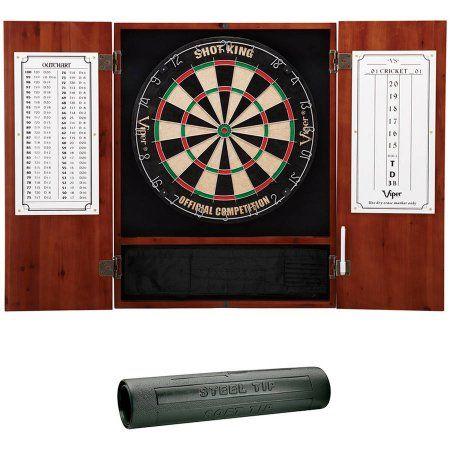 Shot King Sisal Fiber Dartboard, Metropolitan Cinnamon Cabinet and Dart Mat Bundle by Viper