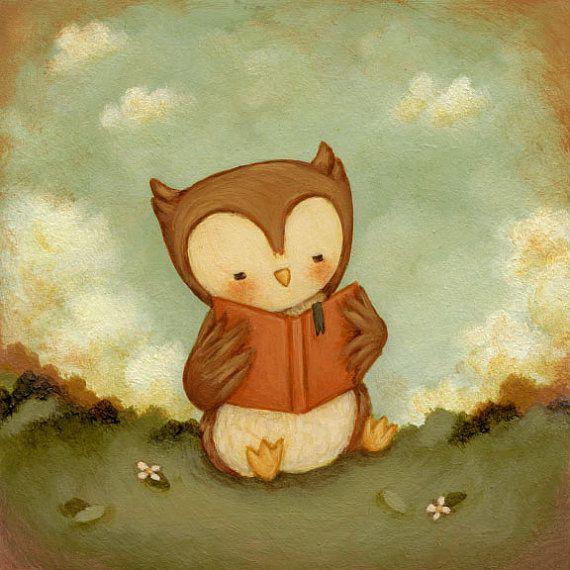 Owl Love Books Print 8x8 - Owl, Nursery Art Print for Baby and ...