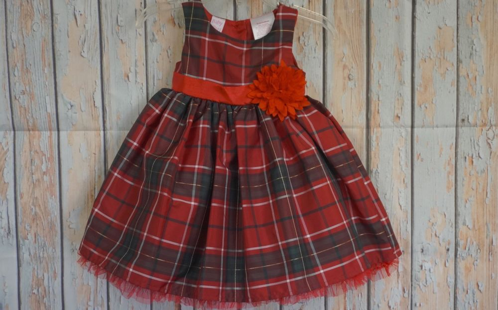 Details about BABY BERI Toddler Girls Red Green Plaid Holiday
