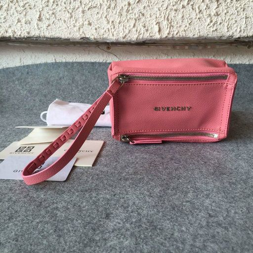 £139.00 A/W Givenchy 2016 Collection Outlet-Givenchy Small Pandora Wristlet Bag in Pink Leather