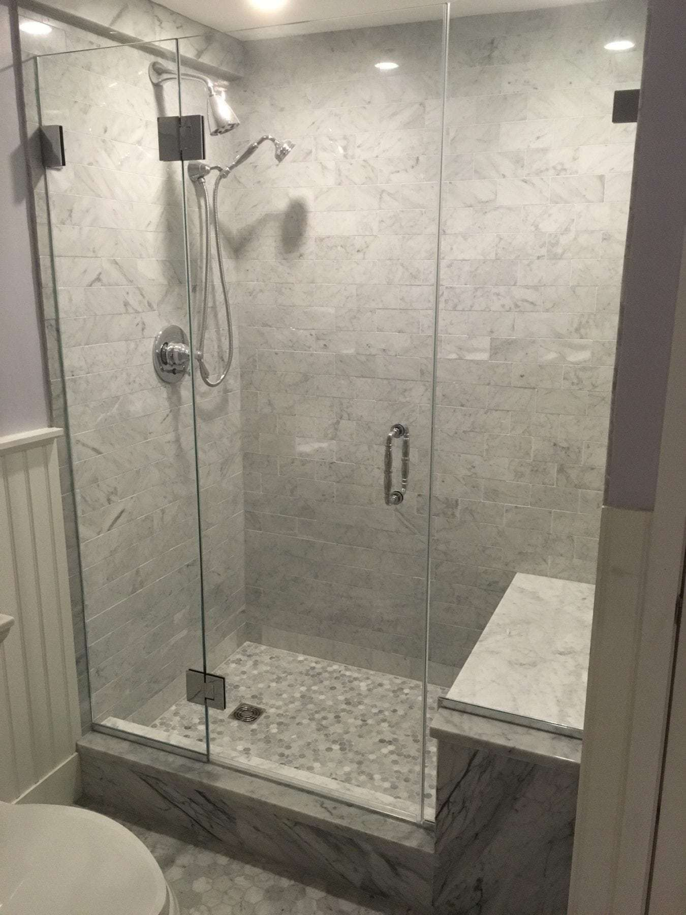 Frameless Shower Enclosure Sidelights Either Side And Door