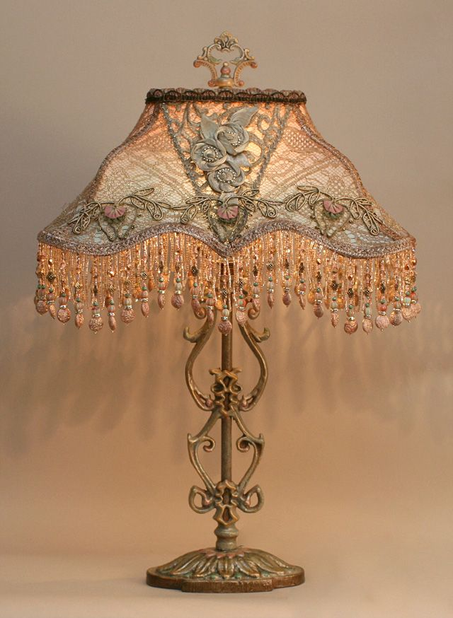 Antique Lamp With Edwardian Silk Lampshade, Handmade Ribbon Roses And  Beaded Fringe