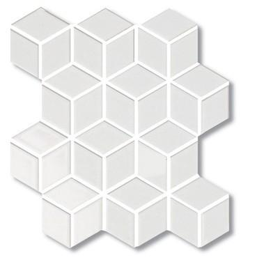 Sognare Cute White Rhombus Hexagon Cube White Glossy Mosaic 12x12 In 2020 Decorative Wall Tiles Rhombus Tile Mosaic