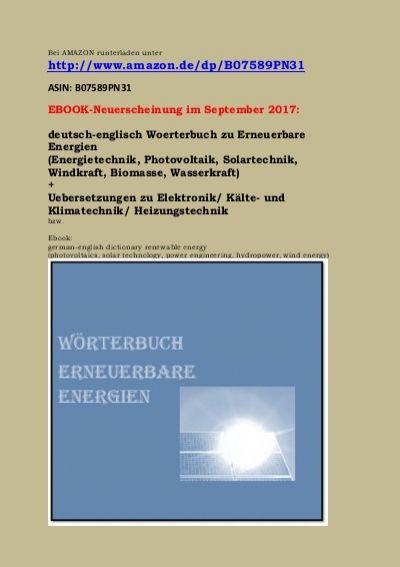 Erneuerbare Energien Begriffe Uebersetzungen Erneuerbare Energien Energietechnik Englisch Worterbuch