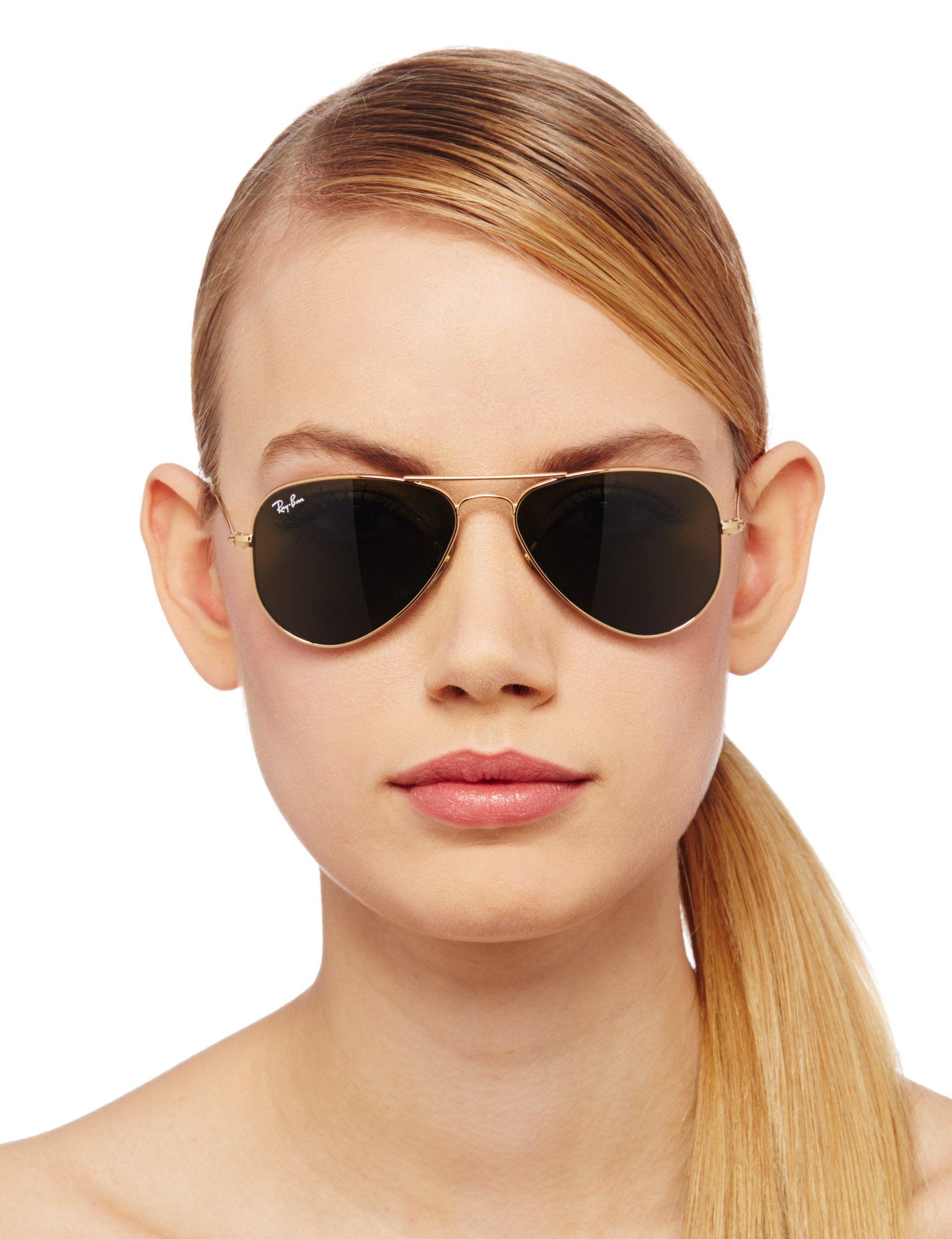 Ray-Ban Aviator Sunglasses,Arista Frame/Green Lens, For small face.