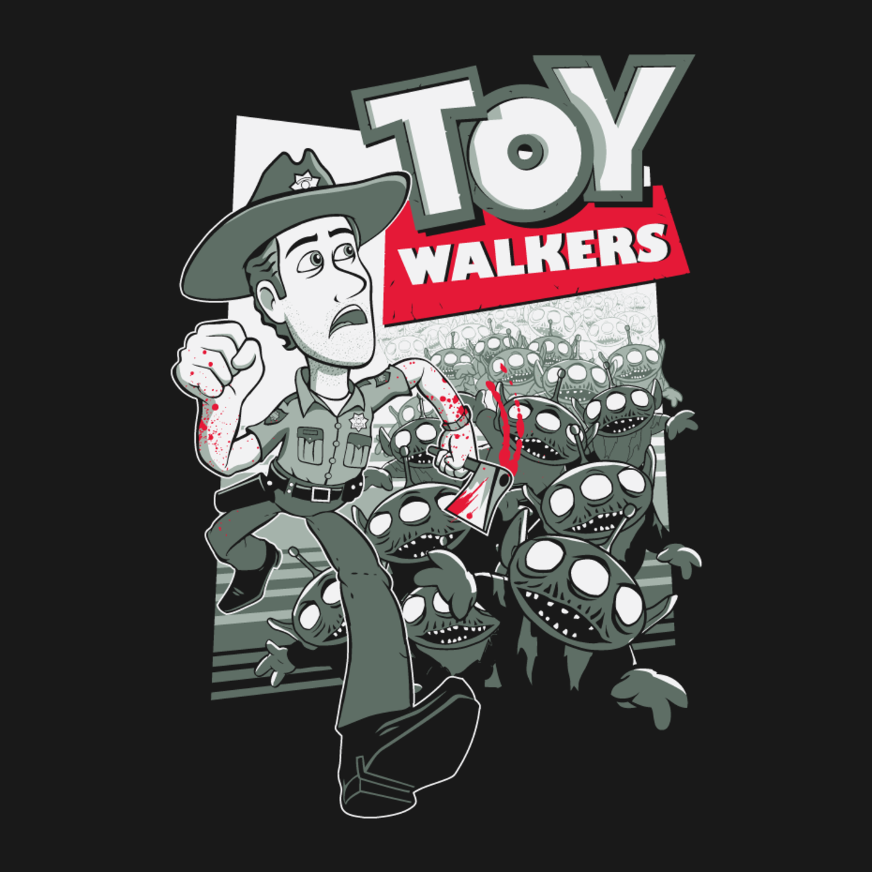 TOY WALKERS TShirt Shirts Walking Dead And Pop Up - Walking dead intro recut drunk people