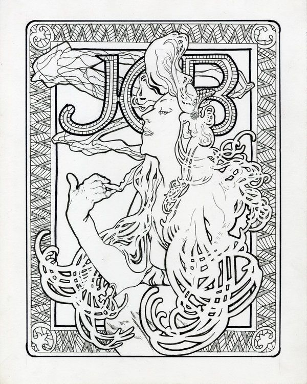 Nice Alphonse Mucha Coloring Pages