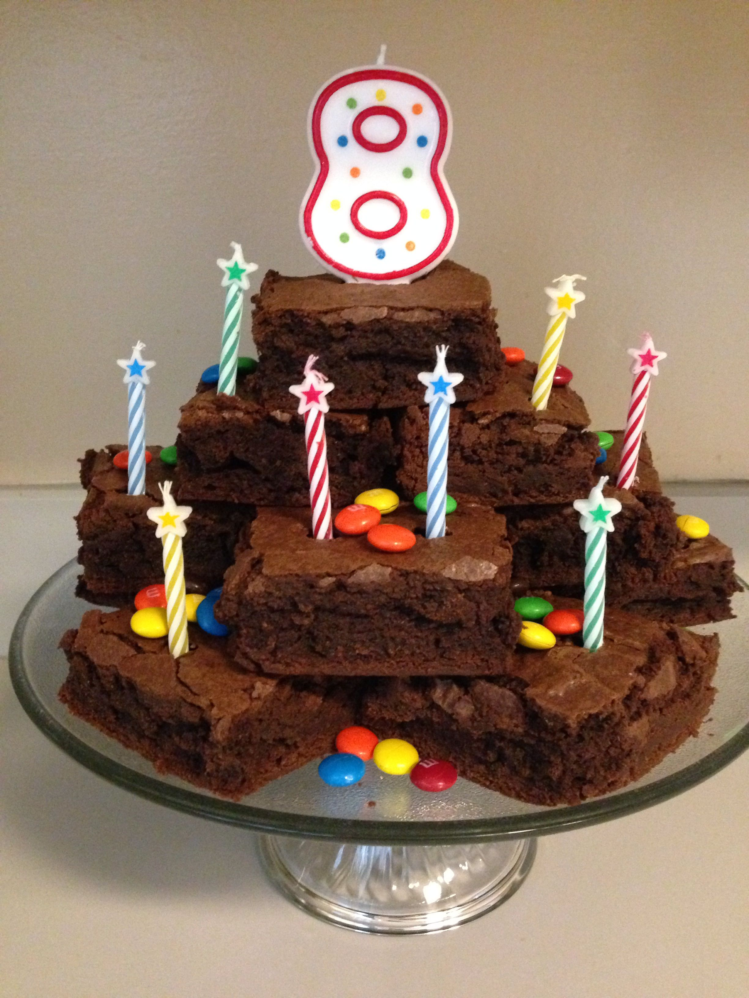 Astounding Brownie Stack Birthday Cake With Images Birthday Cake Brownies Personalised Birthday Cards Paralily Jamesorg