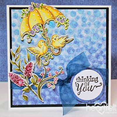 Heartfelt Creations Raindrop Sentiments Cling Stamp Set HCPC-3812
