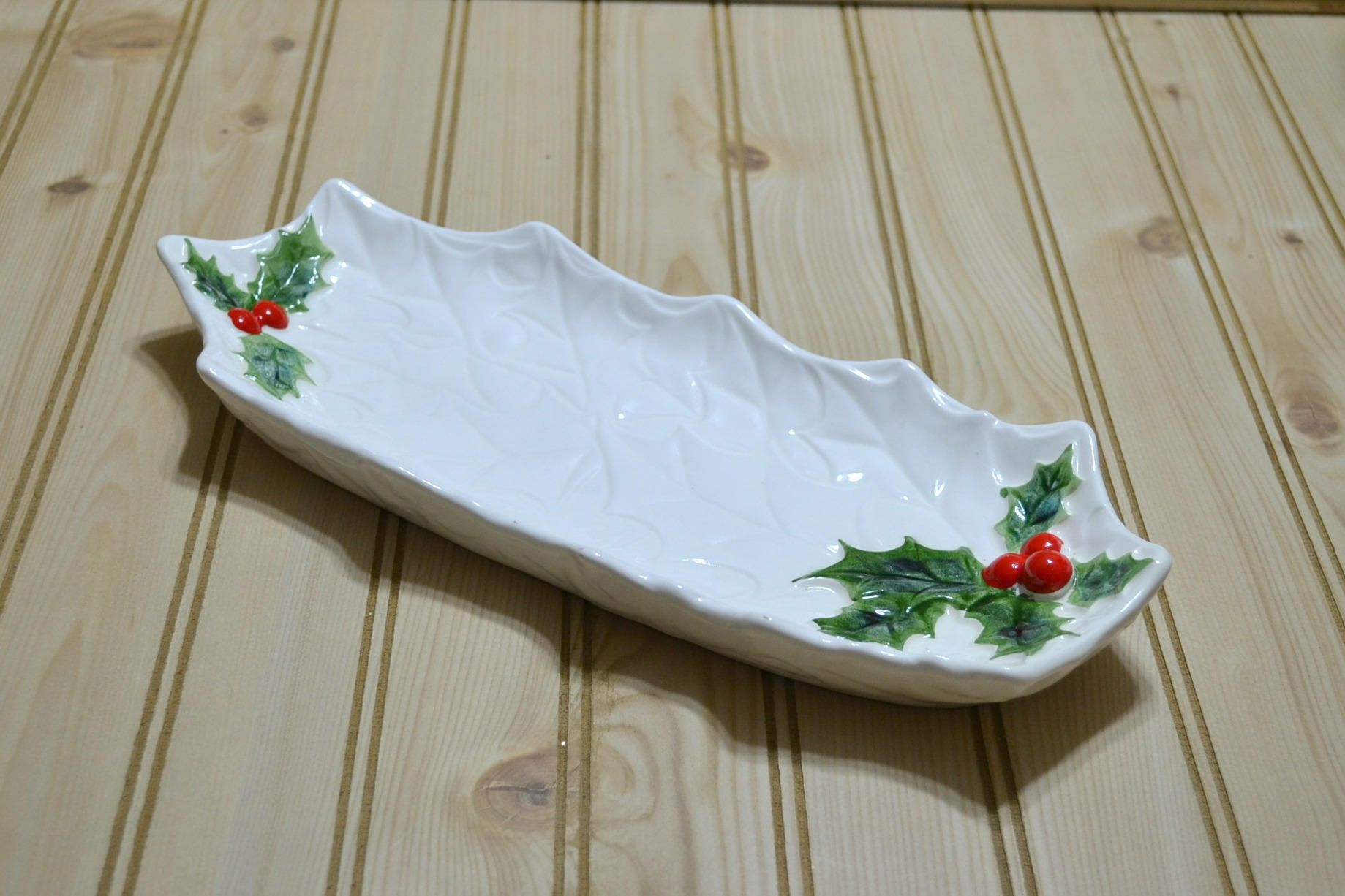 Vintage White Holly Lefton Celery Cracker Tray Dish Nuts Cookies