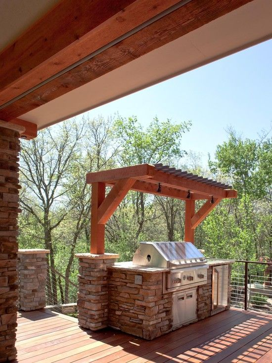 Terrific Outdoor Grill Exhaust And Ventilation Awesome Deck Area With Small Pergola Over The Defines Kitchen Using Stone To Build