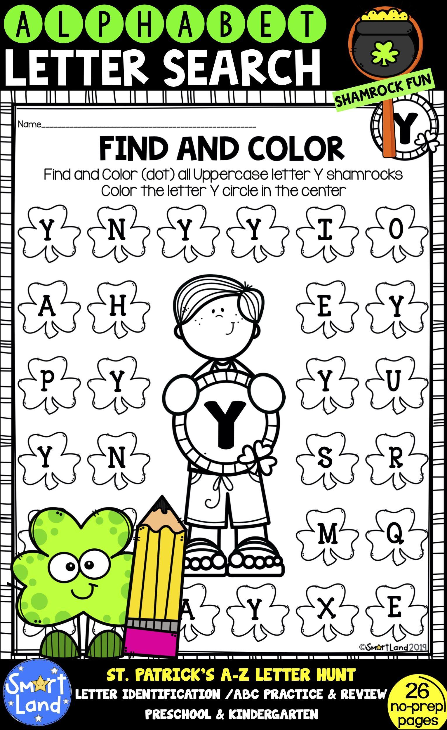 Alphabet Practice Letter Search Shamrock Fun In