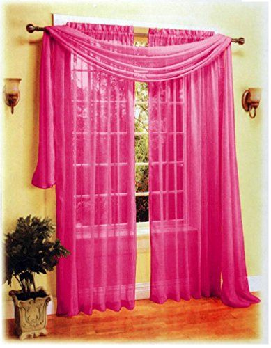 1kidandaheadache 2pc Hot Pink Fushia Fuchia Voile Elegant Sheer Panels 60x84 Fully Hemmed Check