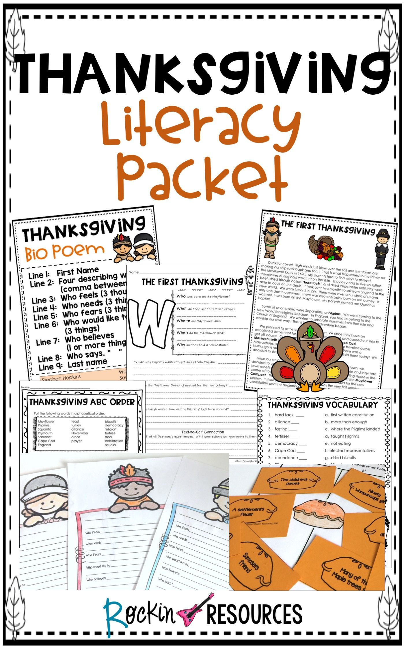 This Themed Literacy Packet Is Loaded With Thanksgiving